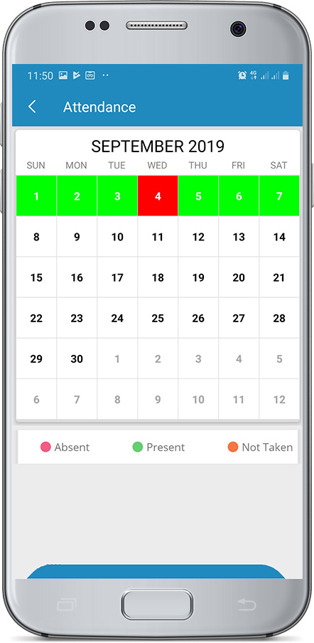 Students can view their monthly attendance